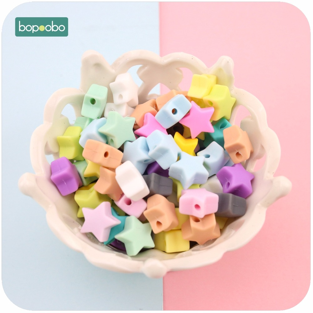 Bopoobo Silicone Beads Star Shape 10pcs 14mm Food Grade Teether BPA Free Ecofriendly Beads Bracelet Diy