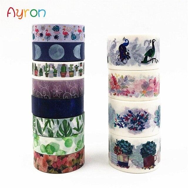 10 m lindo Lotkawaii flor verde hoja Luna cinta decorativa Washi DIY Scrapbooking cinta adhesiva escuela Oficina suministro