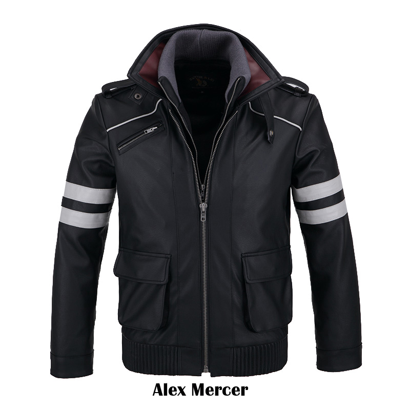 [STOCK]Double Collars!Game Prototype Alex Mercer PU Leather Jacket Winter Coat Halloween Cosplay Costumes For Women/Men M-4XL