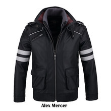 [STOCK]Double Collars!Game Prototype Alex Mercer PU Leather Jacket Winter Coat Halloween Cosplay Costumes for Women/Men M-4XL(China)