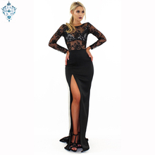 Ameision 2019 Summer new long evening dresses sexy round neck lace perspective dress gown