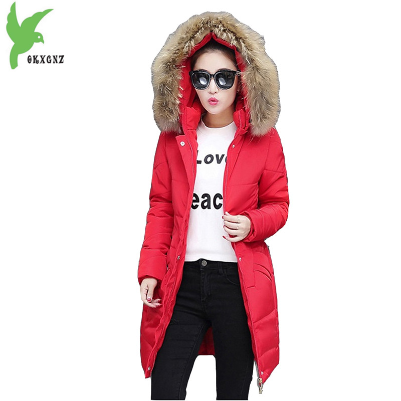 High-quality Plus Size 5XL Women Winter Down Cotton Jackets New Fashion Solid Color Hooded Fur Collar Slim Warm Coat OKXGNZ A944 new winter women cotton jackets solid color hooded long coat plus size fur collar thicker warm slim casual outerwear okxgnz a795