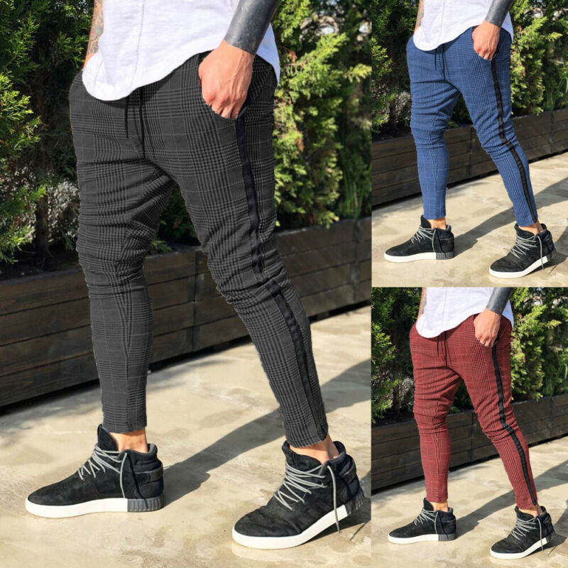 Newest Arrival Plaid High Waist Solid Mens Gym Slim Fit Trousers Pants Tracksuit Casual Joggers Skinny Sports Bottoms M-3XL