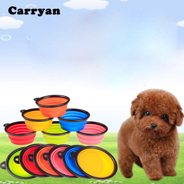 Portable Dog Water Bowl >> Carrywon Pets Dog Cat Travel Bowl Silicone Collapsible Feeding Water