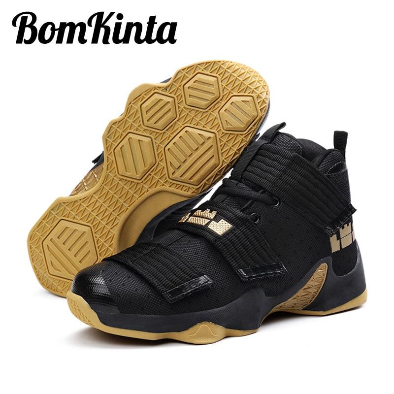 Basketball-schuhe Bomkinta High Top Basketball Schuhe Männer Frauen Hebilla Turnschuhe Unisex Outdoor Ankle Boost Schwarz Gold Korb Homme Boy Big Size 45