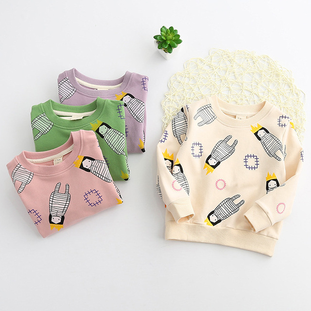2017 Spring Fashion Girls Sport Hoodies Cartoon Sweatshirt Children Clothes Baby Kids Coat Jacket Clothing