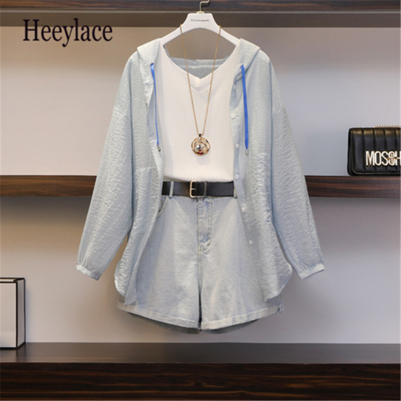 Plus Size 2019 Summer Women 3 Piece Set Casual Solid Tops With White Vest+Wide Leg Shorts Office Lady Suit Three Piece Set 5XL