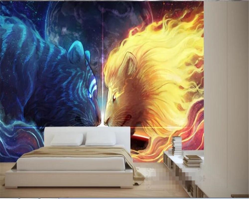 US $8 4 OFF Beibehang 3D Wallpaper Seni Kustom Harimau Singa HD Wallpaper Dekorasi Rumah TV Hudas Kecantikan Latar Belakang Dinding Papel De