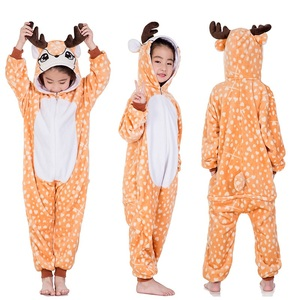 Image 3 - Kids Kigurumi Animal Pajamas Girl Boy Cartoon unicorn Panda Cosplay onesie Winter Warm Hooded Cute Sleepwear