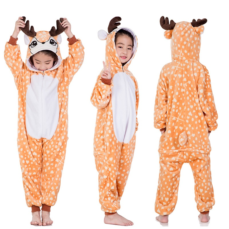 New Children's Animal Pajamas Winter Warm Girl Boy Kids Pajama Cartoon Unicorn Stitch Panda Cosplay Onesie Hooded Cute Sleepwear