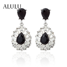 ALULU 2017 New Fashion Jewelry Large Black And White Stones Inlaid Rhinestone Earrings Geometric Long Earrings For Women Brincos
