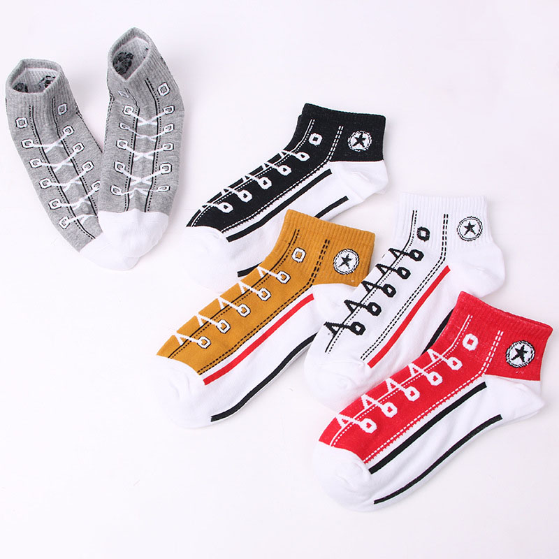 5 Pairs/Lot Trend Men   Socks   Skate Shoes Pattern Short   sock   for boys Summer Breathable Fashion Shoelace Ankle   Socks