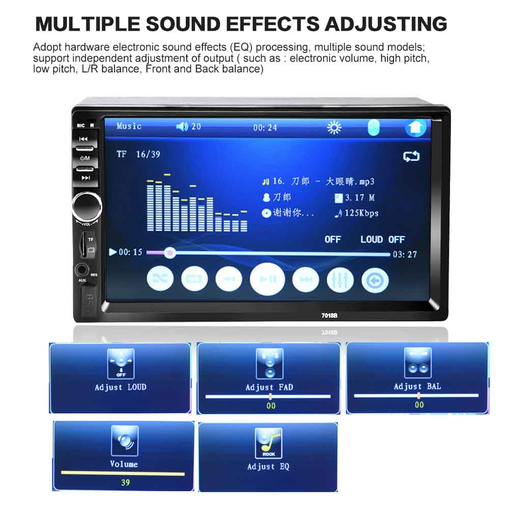 7018B Double 2 Din Car Video Player 7 inch Touch Screen Multimedia player  MP5 Player USB FM Bluetooth Support Rear View Camera