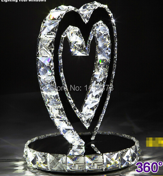 Heart Shape LED Crystal Table Lamps Bedroom Nightstand Wedding Upscale  Decorative Lights