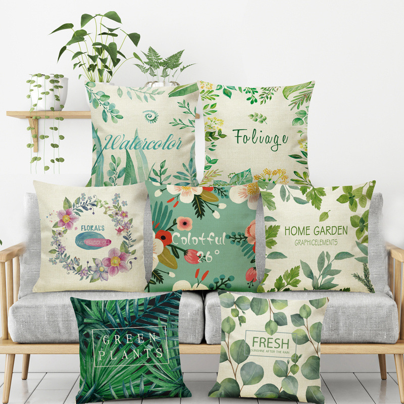 Green style flower ring plant tropical leaves Cushion Cover lumbar shop seat Home Pillow case sofa Decoration for children gift
