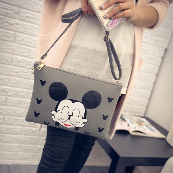 Mickey Envelope Bag Fashion New Handbags High Quality PU Leather Women Bag Cartoon Printing Sweet Lady Shoulder Messenger Bag