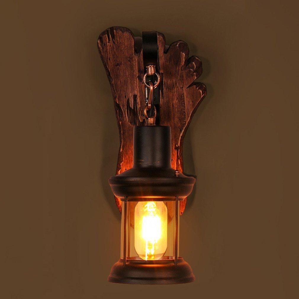 Vintage Industriële Stijl LED Wandlamp Oude Boot Hout Nostalgie Iron Lampenkap Outdoor Verlichting Schijnwerper voor Bar Cafe Winkel