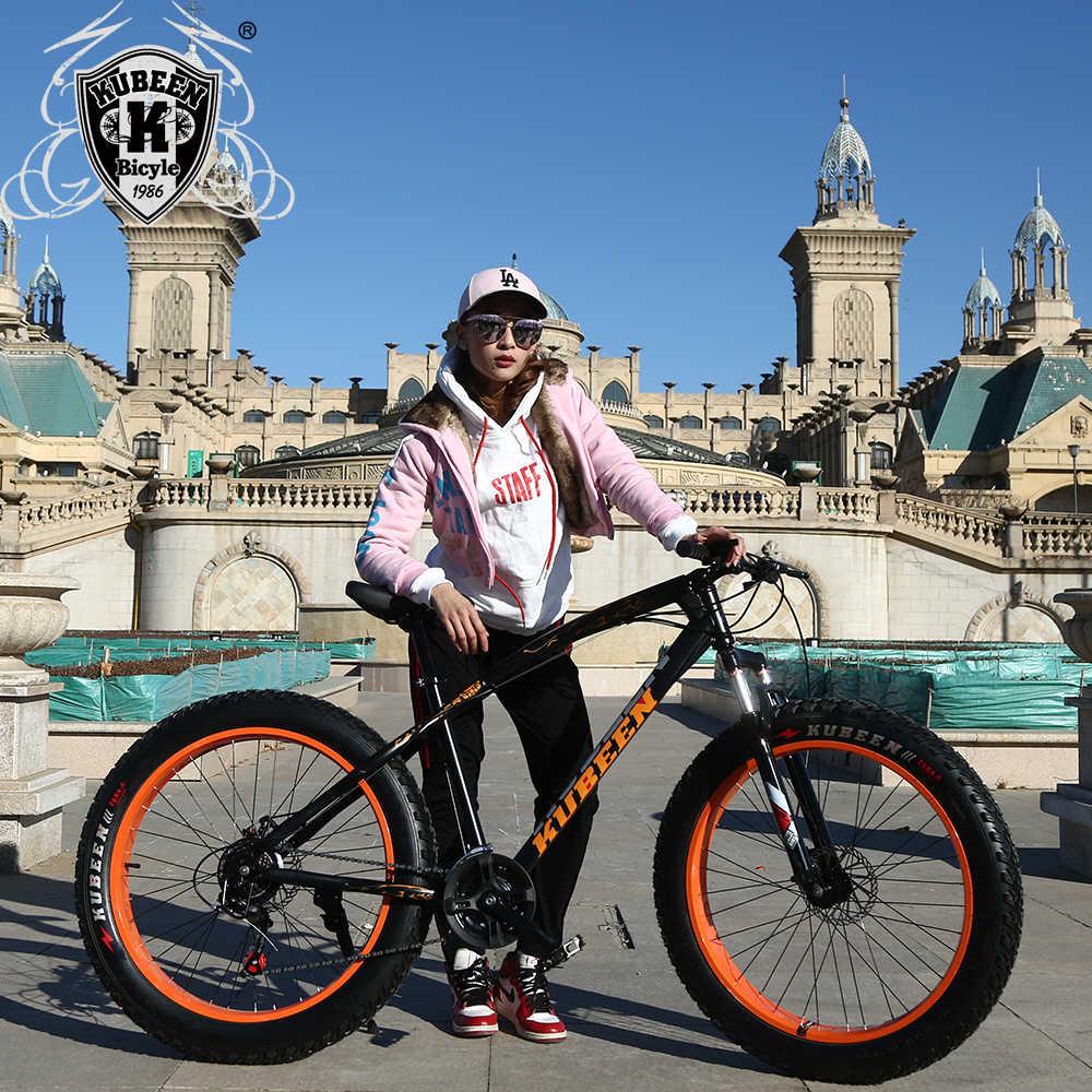 """KUBEEN yeni varış 7/21/24/27 hız disk fren yağ bisiklet 26 inç 26x4.0 """"yağ lastik kar bisiklet yağı bahar çatal"""