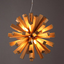 NEW 52cm Northern Europe Wooden Vintage Restaurant Cafe Solid Wood Chandelier Creative Individuality Bar LED Pendant lamp light