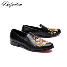 Luxury Brand 2018 Mocassin Homme Mens Loafers Leather Black Dress Shoes Slip on Smoking Slippers Chic Embroidery Party Shoes Men deification mocassin homme red flower embroidered mens flats loafers velvet slippers comfortable leather shoes men wedding shoes