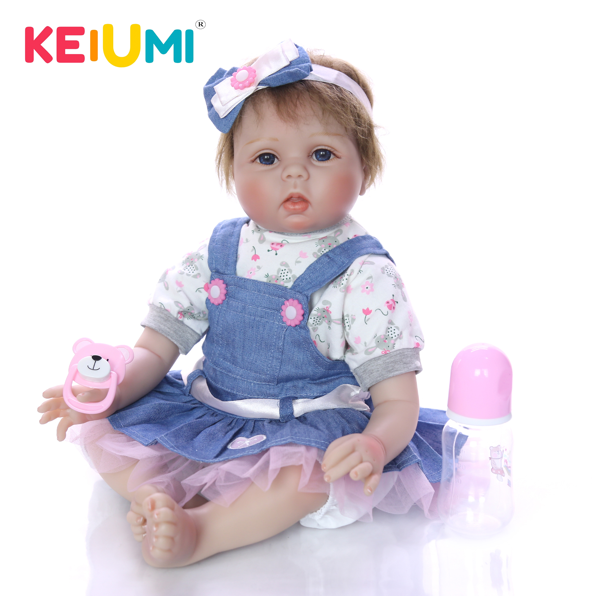 KEIUMI 22 Inch Realistic Reborn Babies Girl Doll Handmade Newborn Doll Wear Denim Skirt Baby Toy