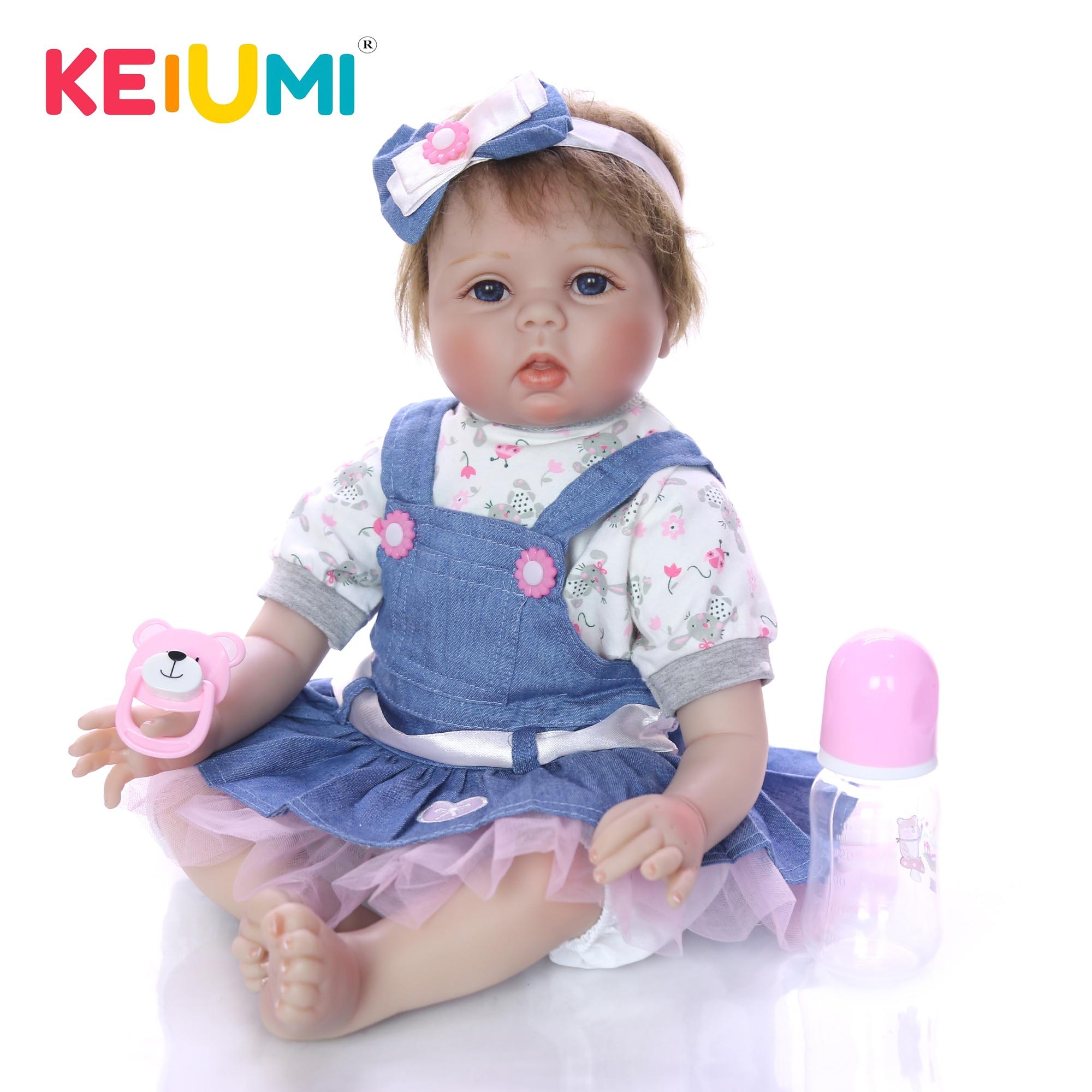 Oyuncaklar ve Hobi Ürünleri'ten Bebekler'de KEIUMI 22 Inç Gerçekçi Reborn Bebekler Kız Bebek El Yapımı Yenidoğan Bebek Giyim Kot Etek Bebek Oyuncak Çocuklar Için Doğum Günü Hediyeleri'da  Grup 1