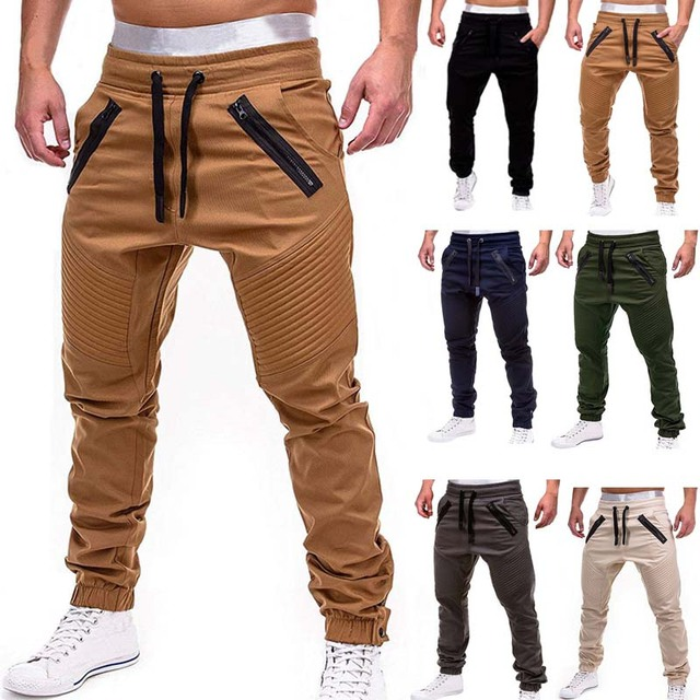 Men Cargo Pants 2019 Autumn Hip Hop Harem Joggers Pants New Male Trousers Mens Solid Multi-pocket Pants Skinny Fit Sweatpants