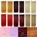 26 pulgadas 66 cm 5 clips Clip en extensiones del pelo de una pieza Recta larga negro castaño rubio castaño rojo Elegante fiesta de La Boda