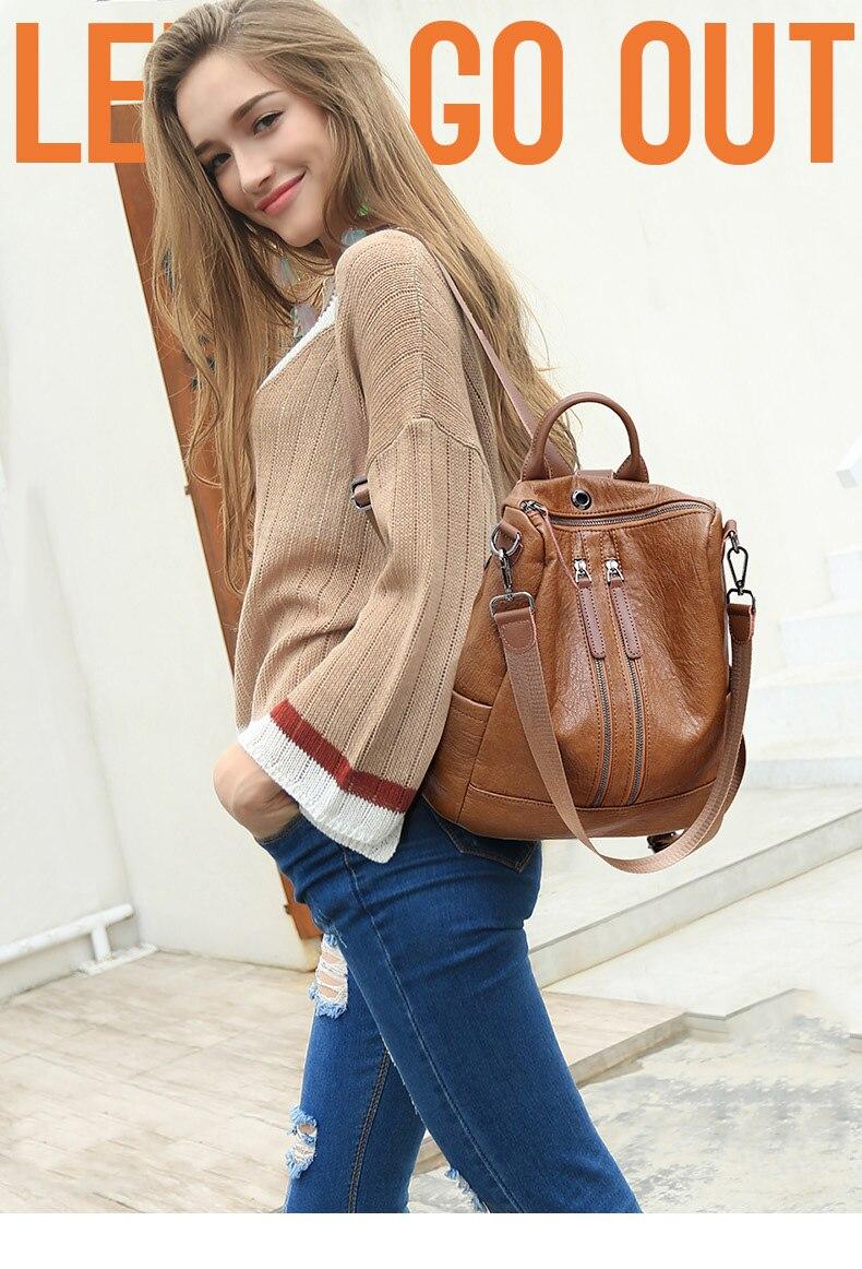 HTB1b8AjJmzqK1RjSZPcq6zTepXa8 Female backpack mochila feminina casual Multifunction Women Leather Backpack Female Shoulder Bag Sac A Dos Travel Back Pack