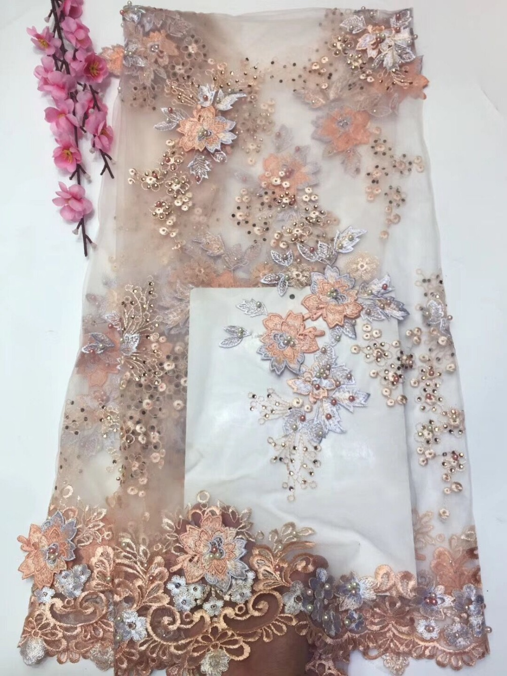 unique 3d flower African net lace JIANXI C 12344 French tulle embroidery lace fabric with beads