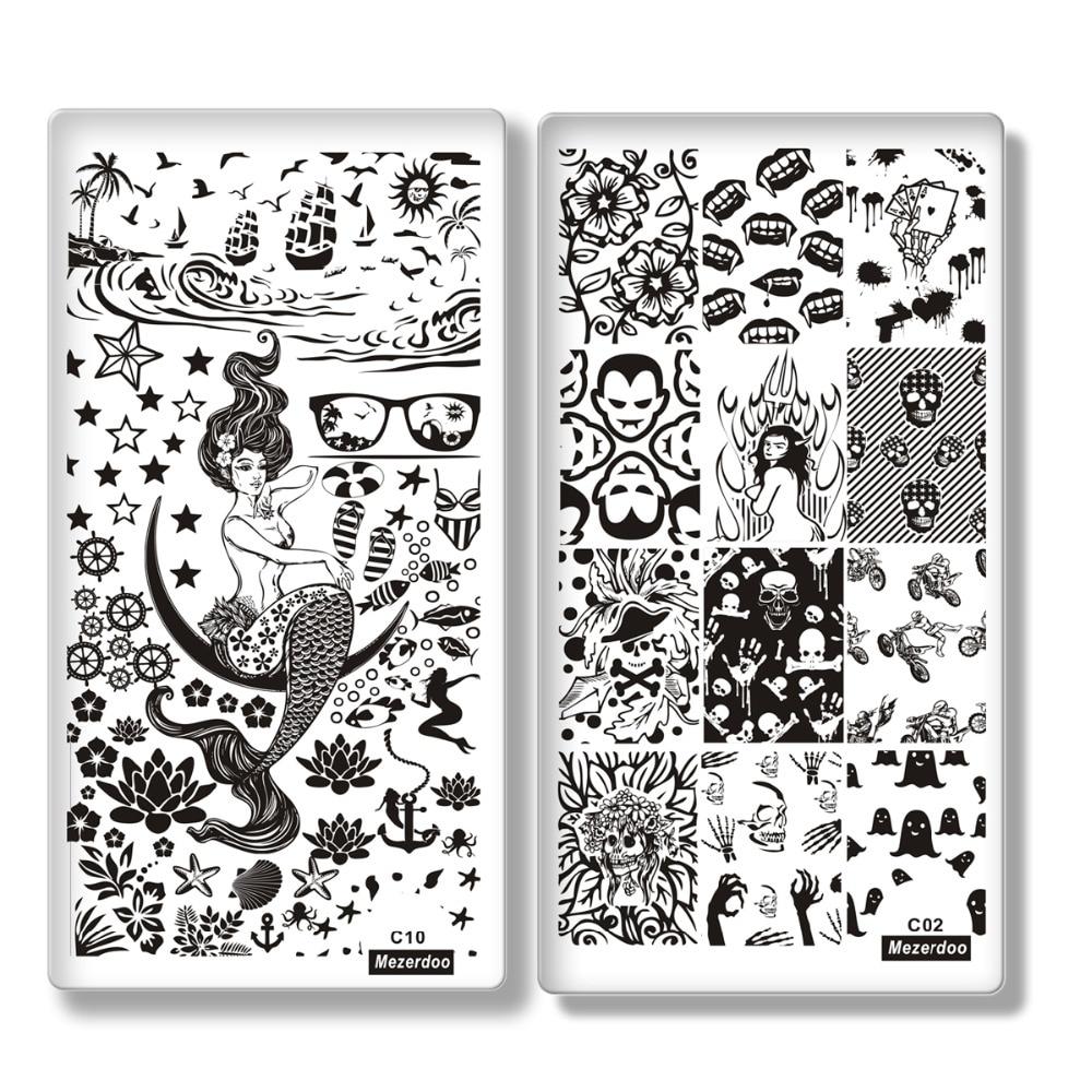 Mezerdoo 10pcs / lot Proiectare creativă Șablona de ștanțare a - Manichiură
