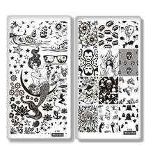 Mezerdoo 10Pcs/lot Creative Design Nail Stamping Plates Template Mermaid Girl Image Stamping Plate 12x 6cm 3pcs lot toilet rest room washroom high quality acrylic 3d door plates sign plate indicator creative design 33x12cm customized