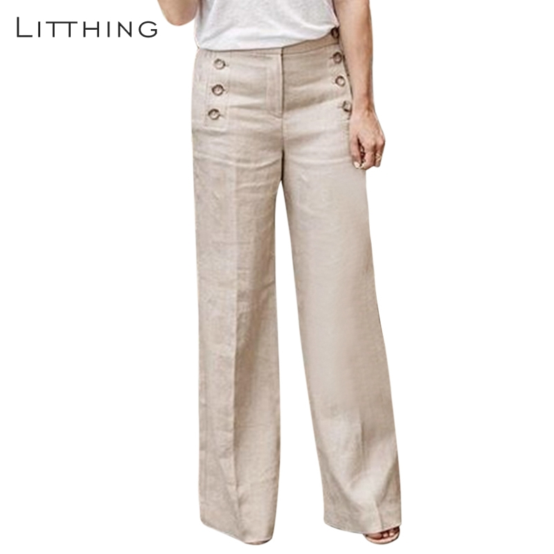 LITTHING 2019 Women Fashion New Linen Cotton   Wide     Leg     Pants   Solid Casual High Waist Full-length   Pants   Buttons Breathable Trouser