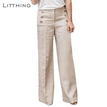 d66745b05e LITTHING 2019 mujeres nueva moda de algodón de lino pantalones de pierna  ancha sólido Casual alta cintura longitud completa pantalones botones  transpirable ...