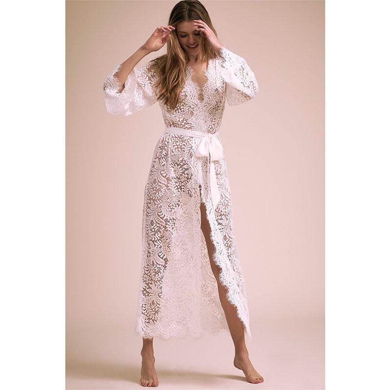 1373baf14e9 Длинные Платья повседневные летние белые кружевные платья с длинными  рукавами Boho платья для женщин 2019 богемное