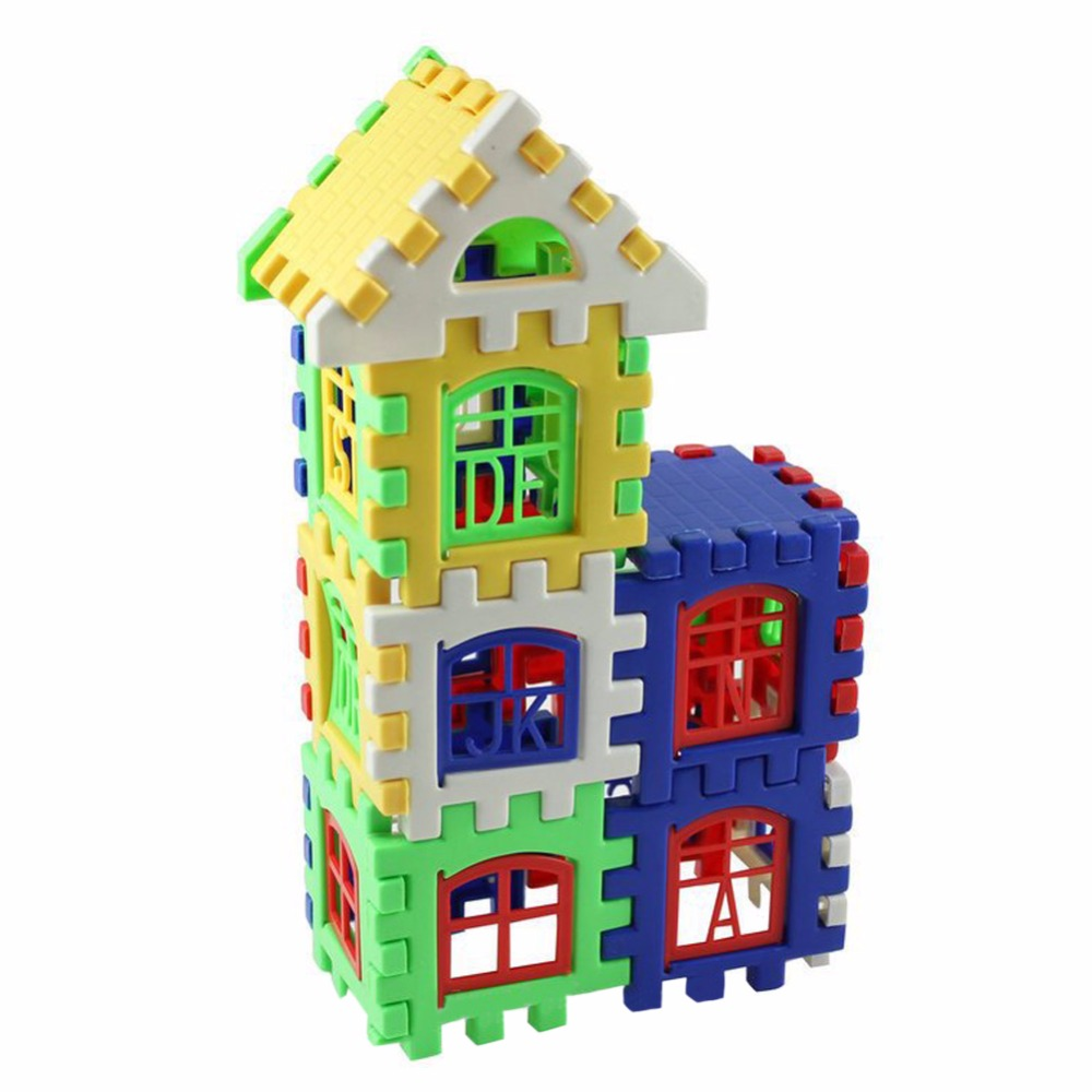 24pcs Baby House Building Blocks Construction Toy Kids Brain Game Learning Educational Toys 24pcs plastic baby kid children house building blocks toy brick construction developmental toy set brain game baby play house