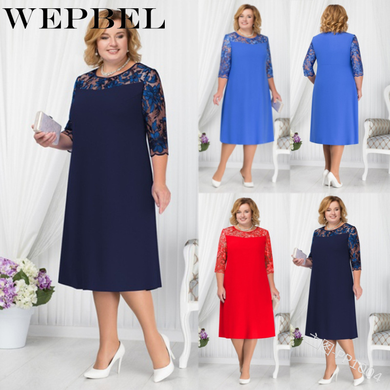 WEPBEL Women Lace Dress Solid Color Plus Size Oversized O Neck Summer Fashion Casual New Ladies Dresses
