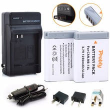 2Pcs Probty NB-13L NB 13L Battery + Charger for Canon PowerShot G5X G7X G9X G7 X Mark II G9X Mark II SX620 HS SX720 HS Camera