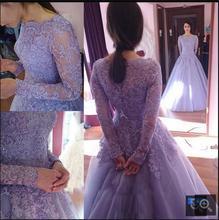 Modest Lavender lace appliques long sleeve ball gown wedding dress vintage scoop neck princess prom gowns cheap sale