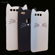 3D Cartoon Smile Cat Case Ears Beard Soft Silicone Phone Cases for Huawei P8 Lite P9 2017 P10 Plus Nova Lite5.2 Rubber Cover cat