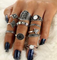 Docona лист камень, кольцо на фалангу комплекты Винтаж кристалл опал кольца костяшки для Для женщин кольца, ювелирные изделия 10 шт./лот 4846 - Цвет основного камня: silver