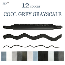 STA 12 colors Dual Head Markers Set Cool Grey Colors Art Markers Grayscale Artist for Brush Pen Painting Marker School bianyo 12pcs cool grey colors art marker grayscale dual head marker set for artist manga painting marker school student supplier
