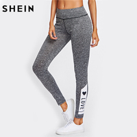 SHEIN LOVE Print Marled Knit Leggings Workout Clothes For Women Autumn Grey Casual Fitness Women Activewear