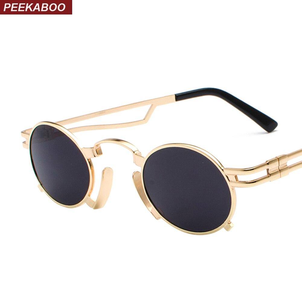 7ee34c1ba4 Peekaboo 2018 new small oval steampunk sunglasses men round metal frame  gold black red mens sun