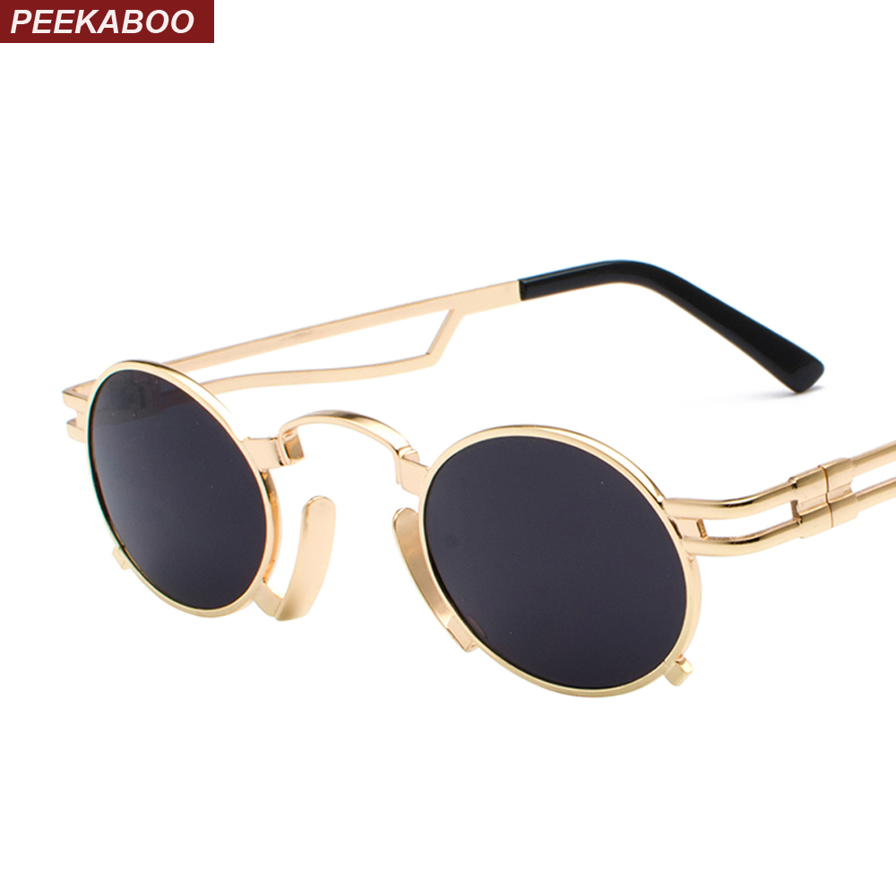 6e2f2ae0c1 Peekaboo 2018 new small oval steampunk sunglasses men round metal frame gold  black red mens sun glasses for women unisex uv400
