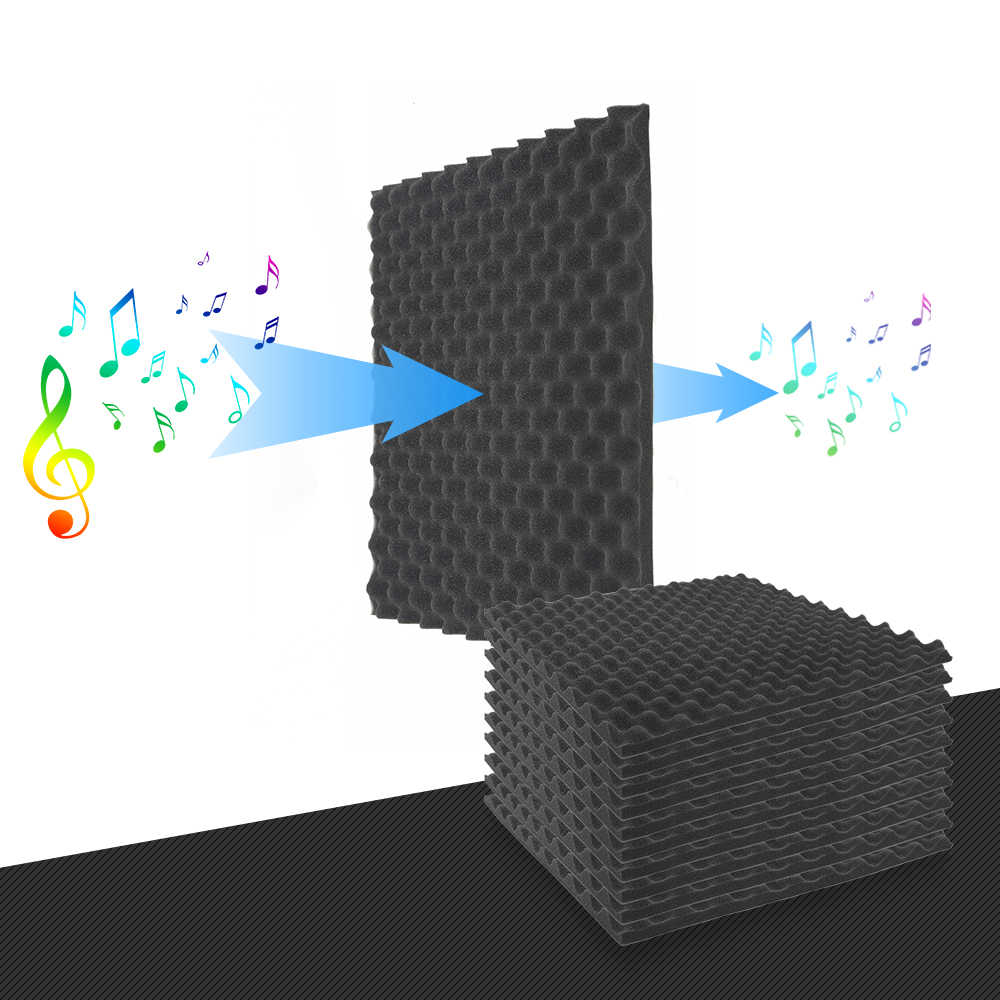 10pcs 500 X 500 X 50mm Soundproofing Foam Acoustic Foam Sound Treatment Studio Room Absorption Wedge Tile Polyurethane Foam 2019