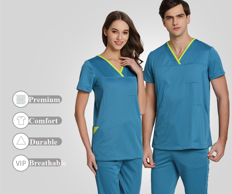 b2023deb87f Medical Uniforms Surgeon's Scrub Sets for Women and Men Summer Short  Sleeves V Neck Top and Pant Beautician Workwear Clothing