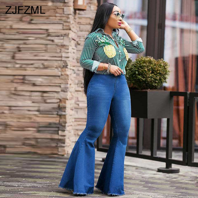 ZJFZML High Waist Flare Jeans For Women Fashion Blue Bell Bottom Skinny Denim Pant Casual Female Pockets Long Wide Leg Trouser