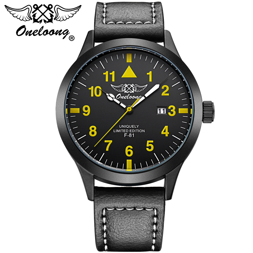 Aviation Top Brand ONELOONG Men's Watches Leather Strap Wristwatch Quartz Date Hours Clock Men Fashion Watch Sport Relogio New new listing men watch luxury brand watches quartz clock fashion leather belts watch cheap sports wristwatch relogio male gift
