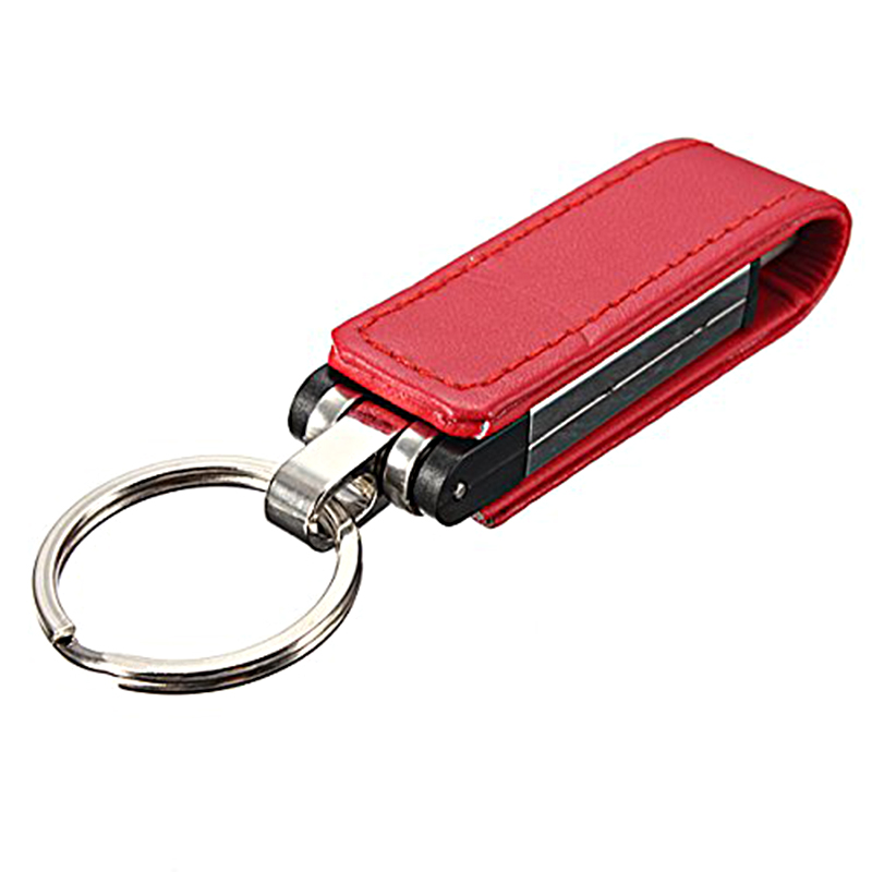 32GB USB 2.0 Keychain Memory Stick Leather Case Red